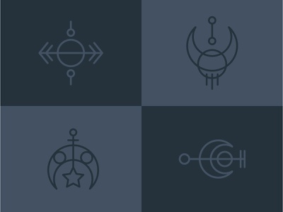Sigils vector spooky sigil magic lineart moon icon symbol design sigils