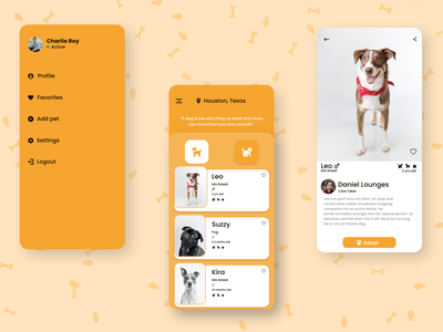 Adoption adoption cat dog ux ui