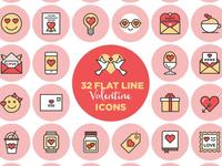 32 FREE Valentines Line Icons
