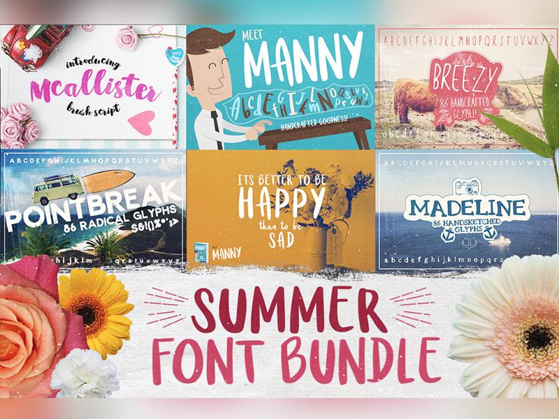 Summer Font Bundle typography calligraphy handdrawn font slab serif font handmade font handsketched font fonts font