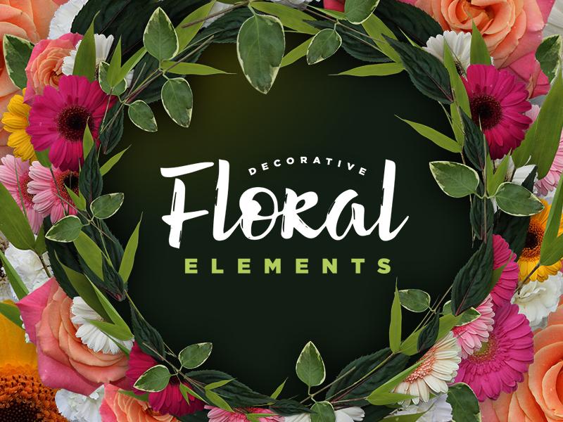 Decorative Floral Elements Kit laurel wreath christmas valentines summer woods roses rose leaf flora flowers floral