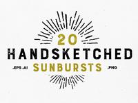 20 Handsketched Sunburst Vectors