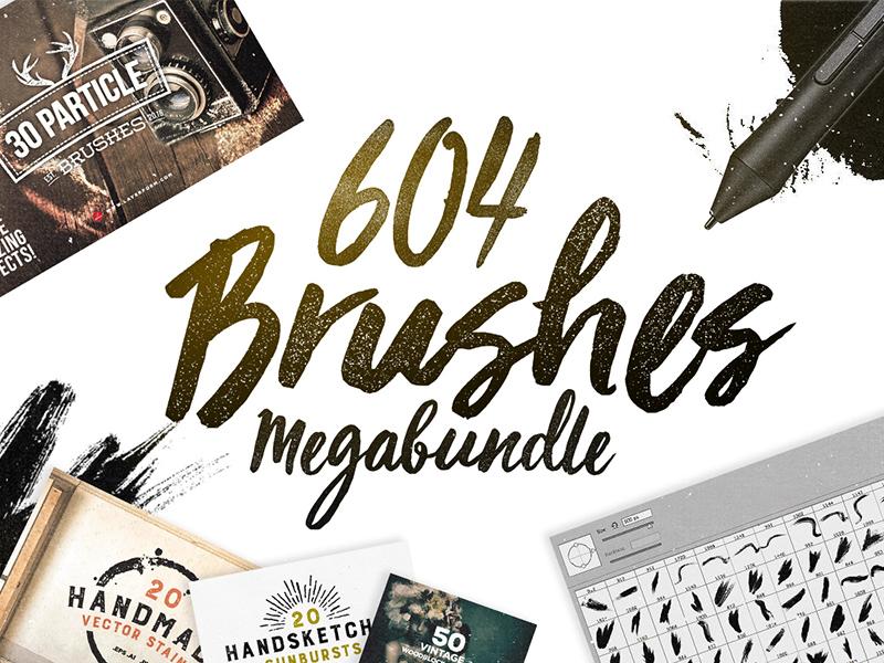 604 Brushes Megabundle artistic brushes splatter brush watercolour brush deals design deal photoshop bundle photoshop brushes brushes