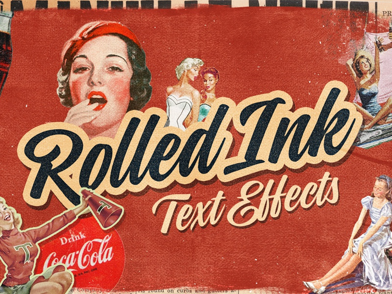 Rolled Ink Vector Text Effects retro text retro vintage graphicriver creativemarket vectors typography text text effects vector