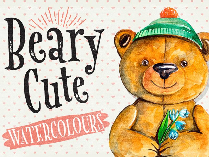 Beary Cute Watercolour Illustrations bear painting watercolours paintings painting graphicdesign design creativemarket bears bear watercolor watercolour