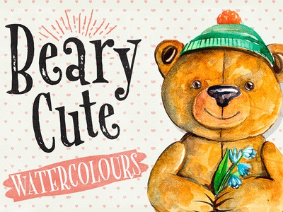 Beary Cute Watercolour Illustrations bear painting watercolours paintings painting graphicdesign design creativemarket bears bear watercolor watercolour