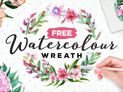 FREE Handpainted Watercolour Wreath flower art flower painting watercolour painting graphicriver creativemarket wreaths wreath watercolour flower flower watercolours watercolour