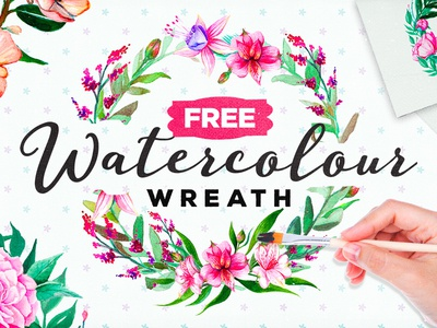 FREE Handpainted Watercolour Wreath flower art flower painting watercolour painting graphicriver creativemarket wreaths wreath watercolour flower flower watercolours watercolour