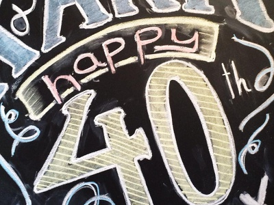 Happy 40th chalk lettering