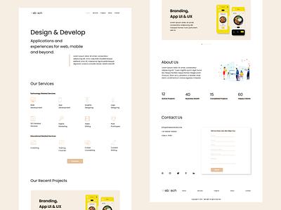 one page website typography minimal logo icon website web ui design