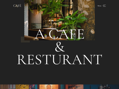 Cafe home page typography minimal logo ui web website design