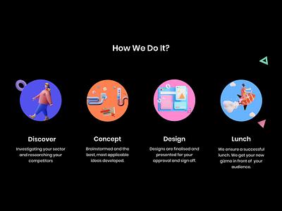 Steps - Our Process illustrator minimal 3d 3d ilustration website ui web design illustration