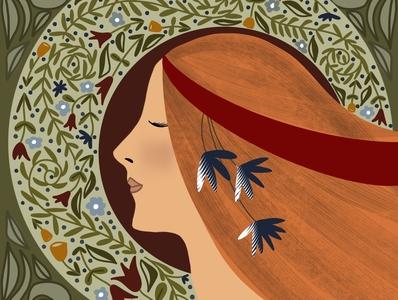 Art Nouveau Hippie Girl procreate digitalpainting adobefresco flat surfacedesign illustration graphicdesign design