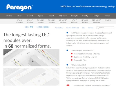 Paragon LED Homepage web design layout business corporate gray blue homepage