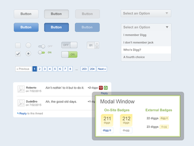 Digg v3 UI Kit PSD (Freebie) ui kit switches buttons modal photoshop vector ui psd freebie