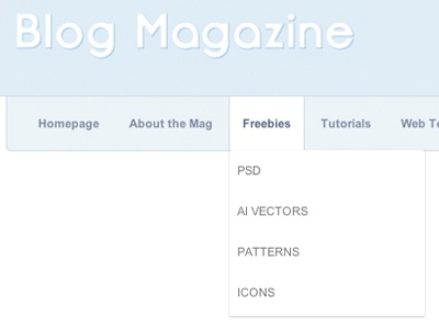 Web Magazine Dropdown Nav Menu blog magazine nav navigation links menus submenu dropdown css3 box-shadow tutorial