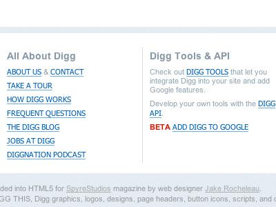 Old Digg v3 Footer Columns digg v3 retro blues footer columns html5 css3 links list copyright beta