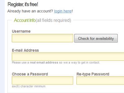 Retro Digg Registration Form