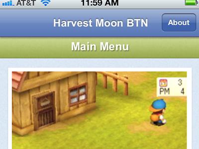 Harvest Moon BTN App iphone safari mobile app webapp ios gaming harvest moon