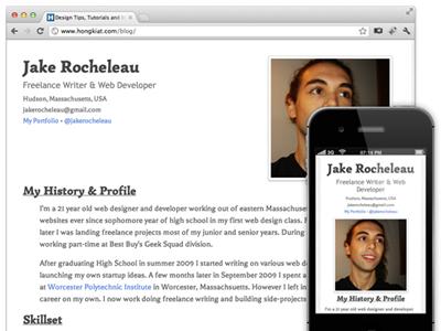 Mobile Responsive Resume html5 css3 safari mobile smartphone website resume portfolio tutorial