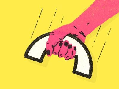 Hang-up illustration hand phone texture editorial