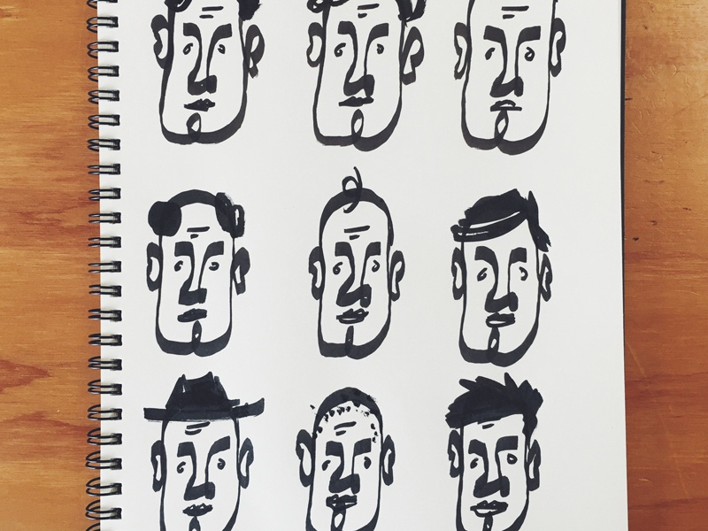 Loops drawing faces marker illustration