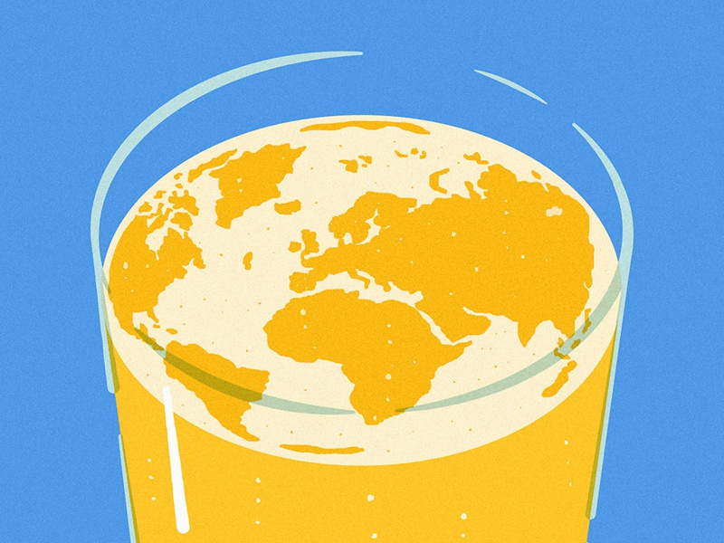 Sustainable Beer foam editorial illustration beer