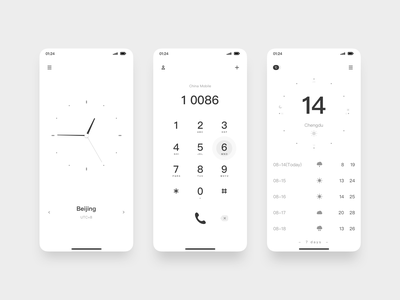 JiAN 01 black and white mobile minimalist design uiux ui