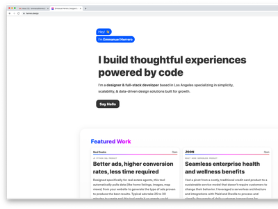 New Personal Website javascript react html css animations responsive