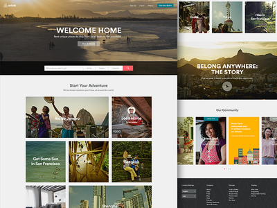 Home Welcome home masthead photography landing website product footer header button carousel masonry typography