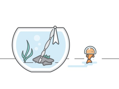 Gone Fishing fish helmet illustration flat water fishbowl escape goldfish