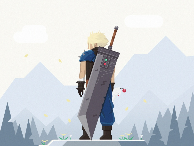 CloudStrife_NewNew.ai sword classic playstation video game rpg forest buster sword cloud cloud strife final fantasy vii final fantasy game vector 2d flat illustration