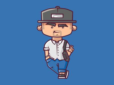 Selfie cute vector 2d flat illustration