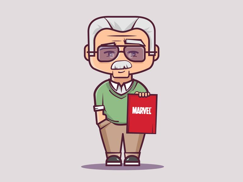 Stan lee superhero stan lee characterdesign character marvel cartoon cute vector 2d flat illustration