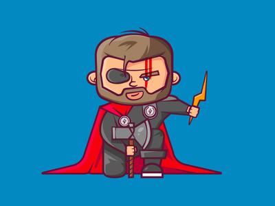 Thor Ragnarok Edition ragnarok cape thor super hero marvel axe lightning bolts lightning bolt illustration flat character design cartoon comic avenger 2d