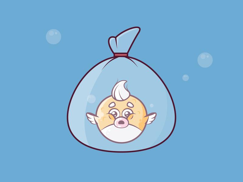 Fishnapped blowfish fish cartoon cute vector 2d flat illustration