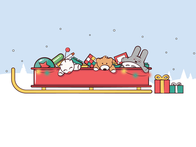 Favorite Christmas Toys winter toys stuffed animal lights christmas sleigh cute vector 2d flat illustration