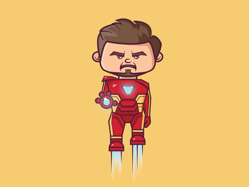 Iron Man avengers marvelcomics tony stark iron man ironman marvel cartoon cute vector 2d flat illustration