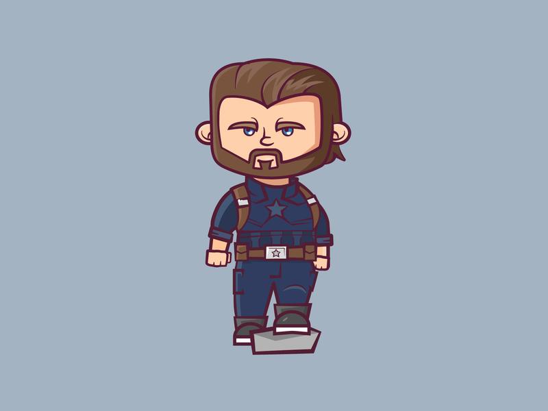 Cap'n avengers chris evans captain america character marvel cartoon cute vector 2d flat illustration