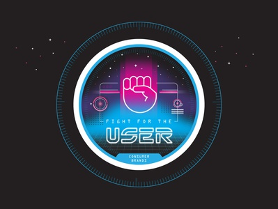 Fight for the User tron gradient retro 2d illustration ux sticker