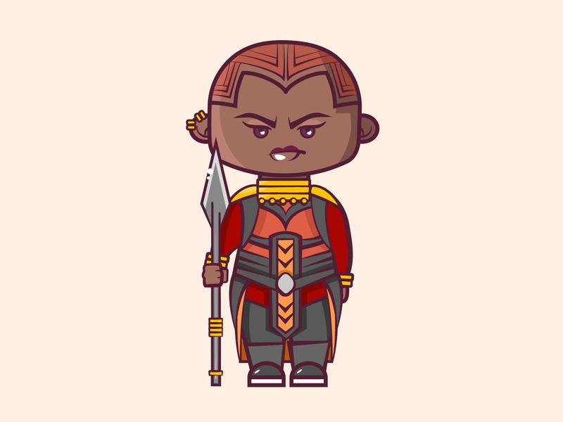 Okoye cartoon cute vector 2d flat illustration superhero okoye marvel black panther africa
