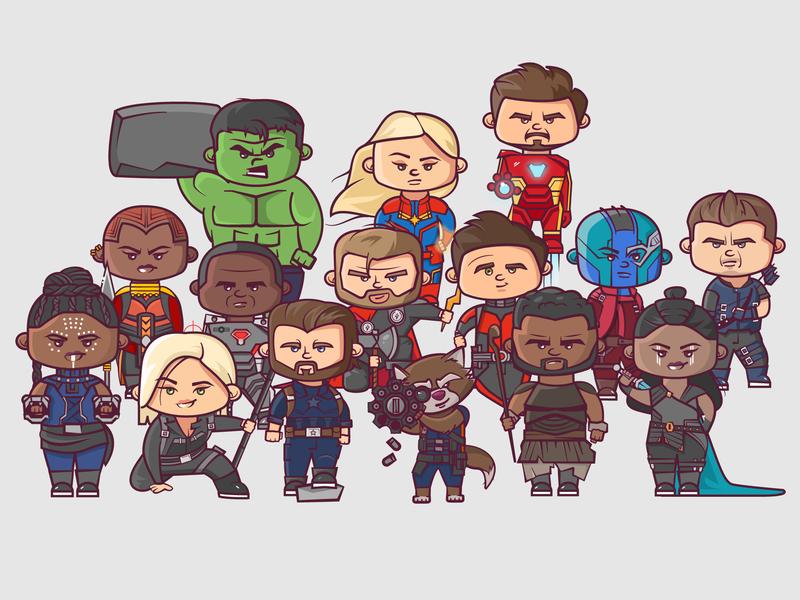 Avengers: Survivor Edition end game infinity war avengers character marvel cartoon cute vector 2d flat illustration