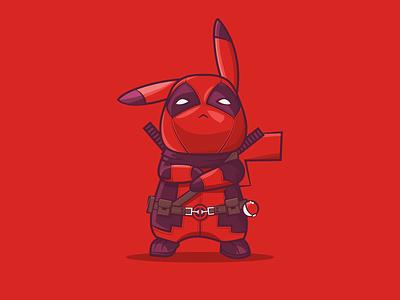 Pikapool deadpool pikapool pikachu pokemon marvel cartoon cute vector 2d flat illustration