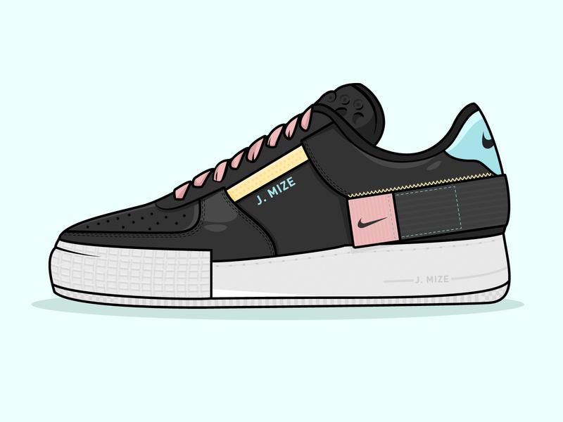 Nike x J. Mize sneaker black  white vectors ux ui texture shoes shoe nike vector 2d flat illustration grey airforceone af1 app design branding black app