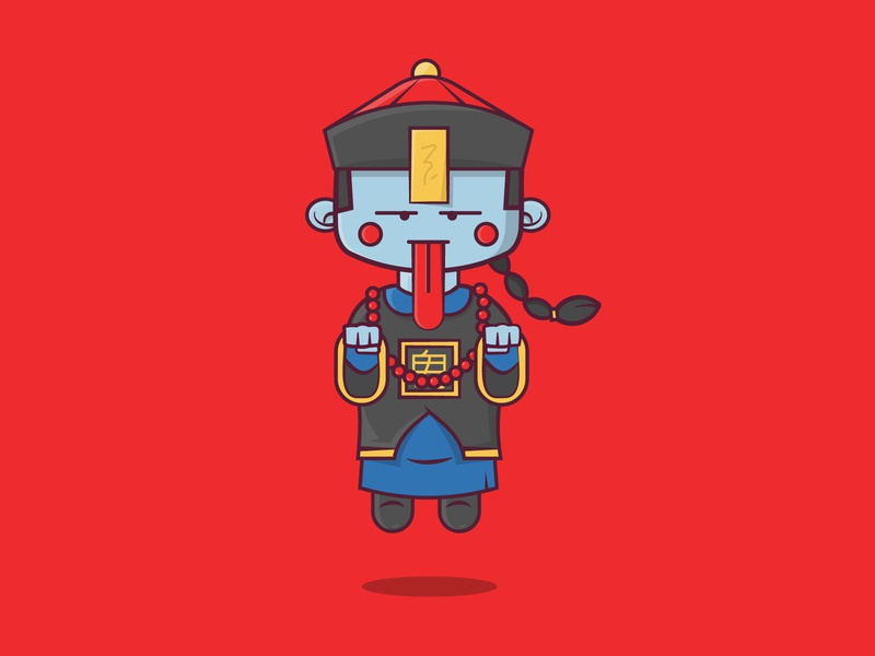 Day 2: Mindless inktober2019 inktober asian chinese zombie design character cartoon cute vector 2d flat illustration