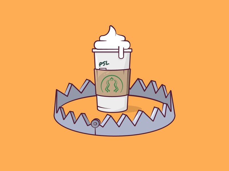 Day 3: Bait basic inktober inktober2019 bear trap trap starbucks pumpkin spice latte design cute vector 2d flat illustration