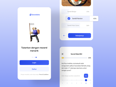 Gawedata - Survey & Assessment App design trending shots test quiz coupon reward assessment survey survei ux graphic design 3d ui
