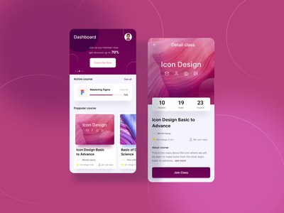 Online Courses App purple online courses courses clean simple user experience ux ui app ios android