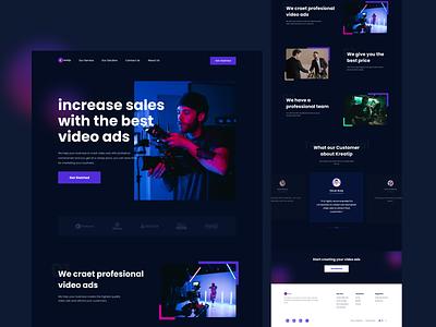 Kreatip - Landing Page business camera ads video agency website agency landing page blue dark dark mode simple clean user inteface user experience ux ui