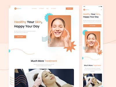 SkinRai - Landing Page health skin beauty web pink landingpage website clean ux we ui